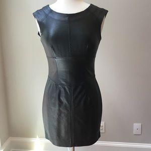 2B Bebe Faux Leather Sheath Dress Zipper Back S
